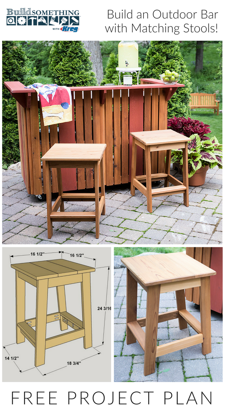 build an outdoor bar with matching stools free printable plans with how to steps cutting diagram tools and materials list on buildsomething com [ 750 x 1375 Pixel ]