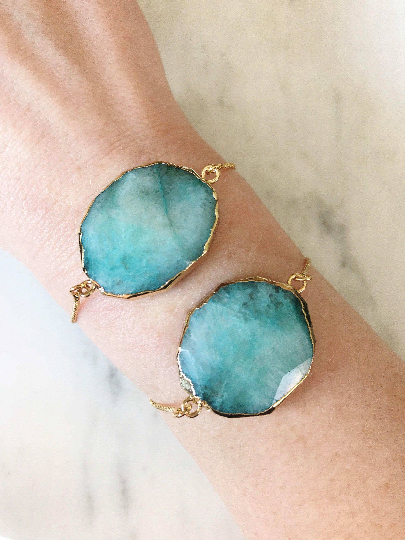 Faceted aquamarine bezel gemstone gold plated adjustable bracelet