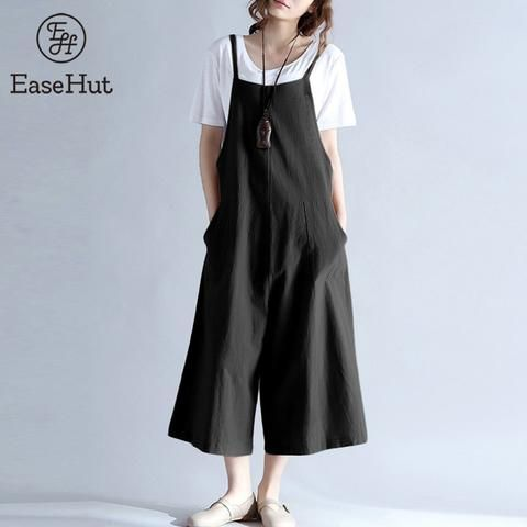 99fd8864d2693 EaseHut 2018 Plus Size Women Cotton Pockets Long Wide Leg Romper Strappy  Dungaree Overalls Casual Loose Solid Jumpsuit Trousers