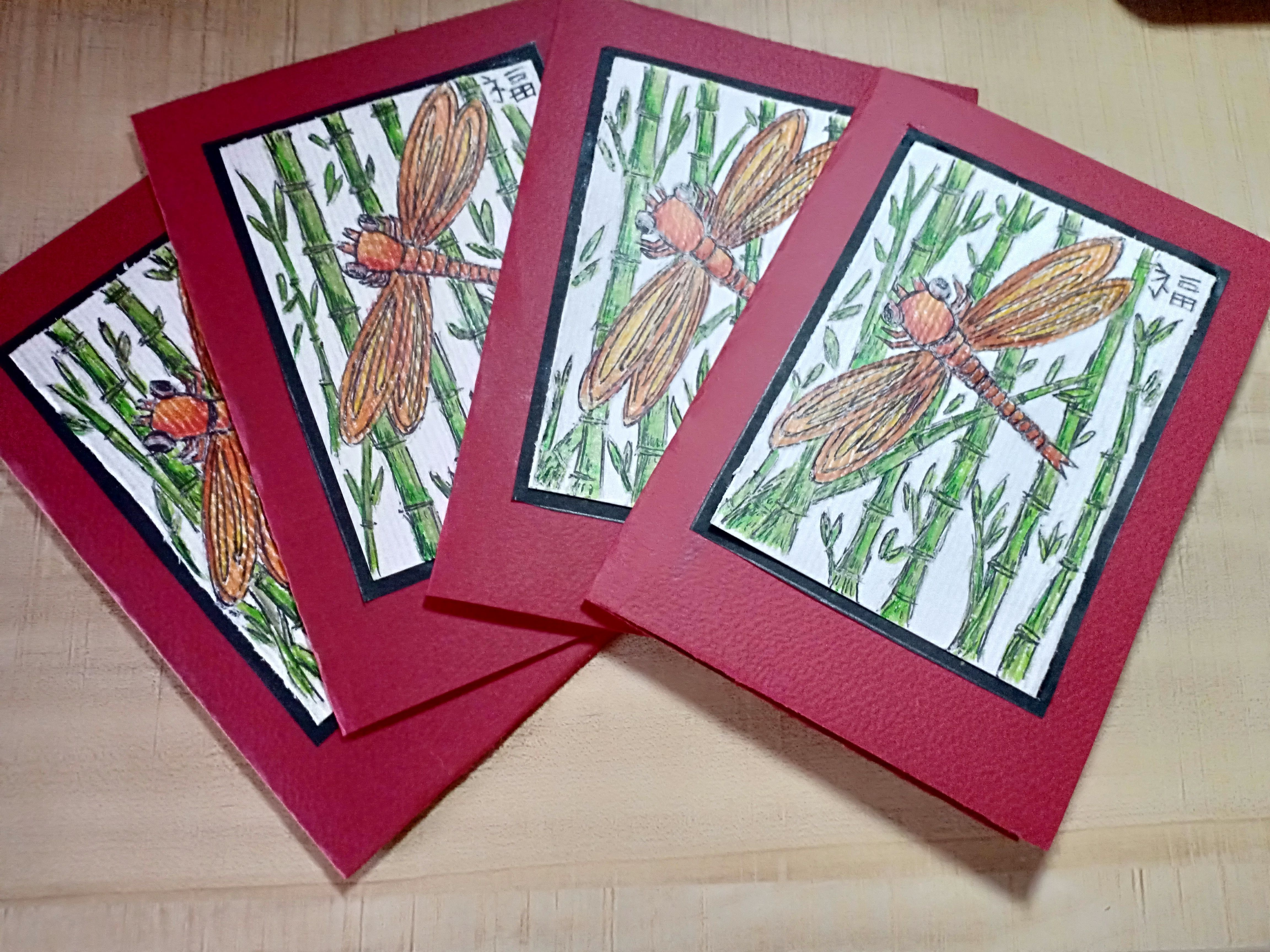2019 chinese new year cards the dragonfly in a bamboo background colour pencil sketch