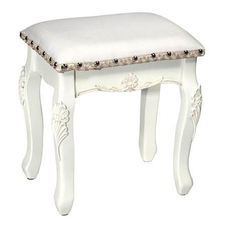 Boudoir Provence Dressing Table Stool, White