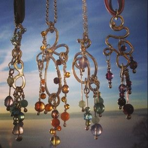 Handcrafted pendants of silver, with stones and Czech glass beads