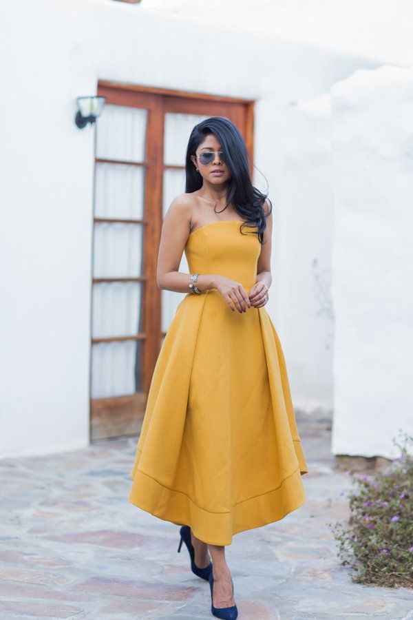 A Rich Mustard Dress With Blue Suede Heels Prom Dresses Yellow Yellow Evening Dresses Summer Wedding Outfits