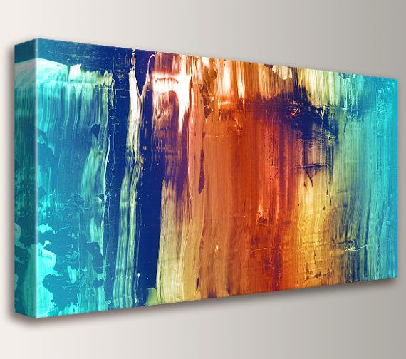 Abstract Art Canvas Print Modern Wall Art Abstract Painting Teal