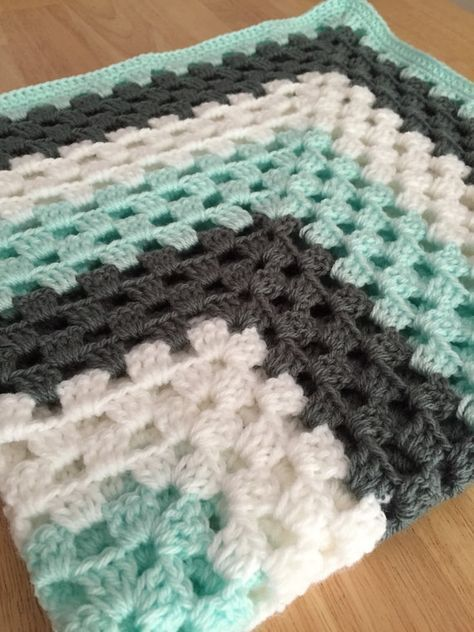 Photo of Baby Blanket, Granny Square baby blanket, baby boy turquoise, gray, blue, seafoam, white blanket, custom afghan