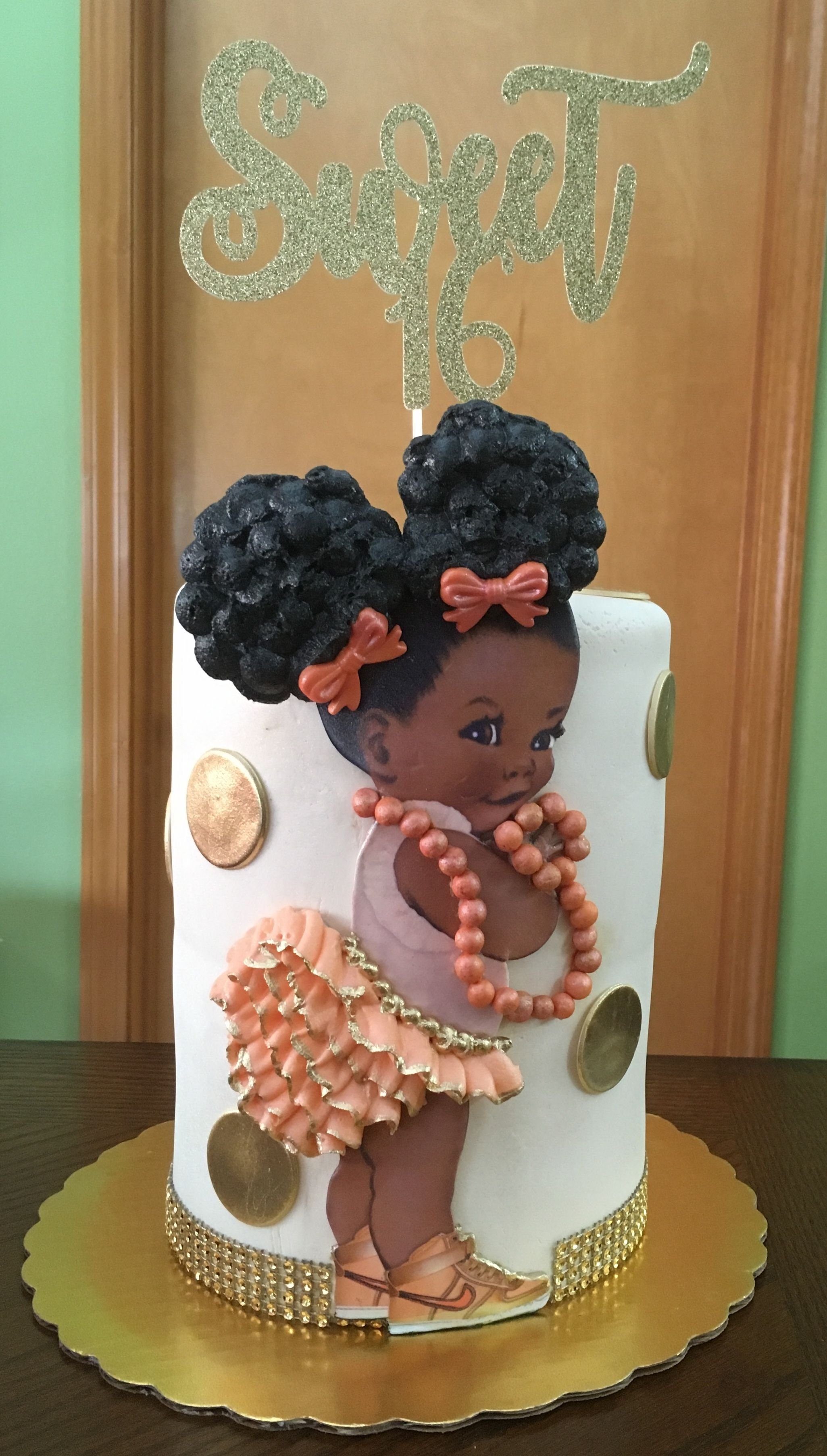 Sweet Sixteen Afro Puff Double Barrel Birthday Cake