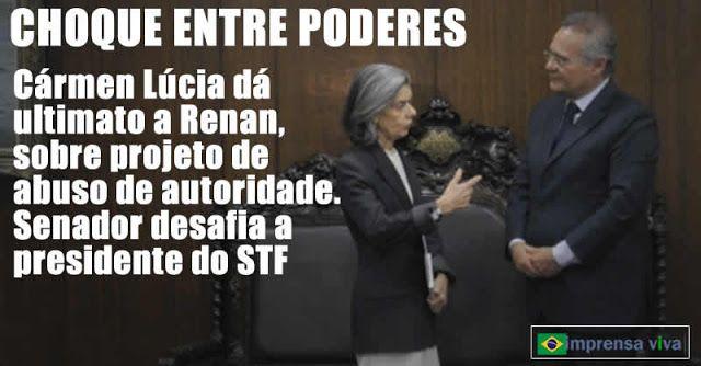 """O presidente do Senado, Renan Calheiros, decidiu peitar a da presidente do Supremo Tribunal Federal, Cármen Lúcia e desafiar um """"apelo i..."""