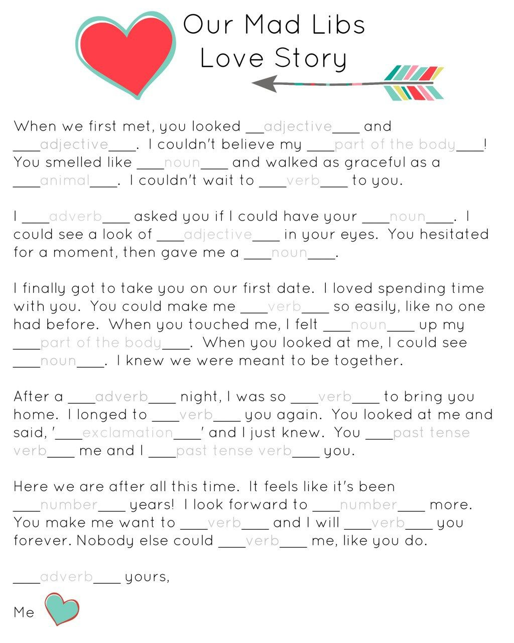 Our Mad Libs Love Story Free Printable And Laughs