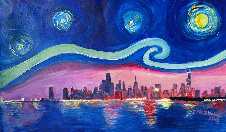 Chicago skyline painting starry night in chicago