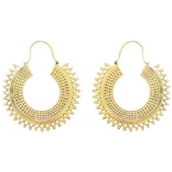 Gold Gypsy Hoops 28 liked on Polyvore featuring jewelry
