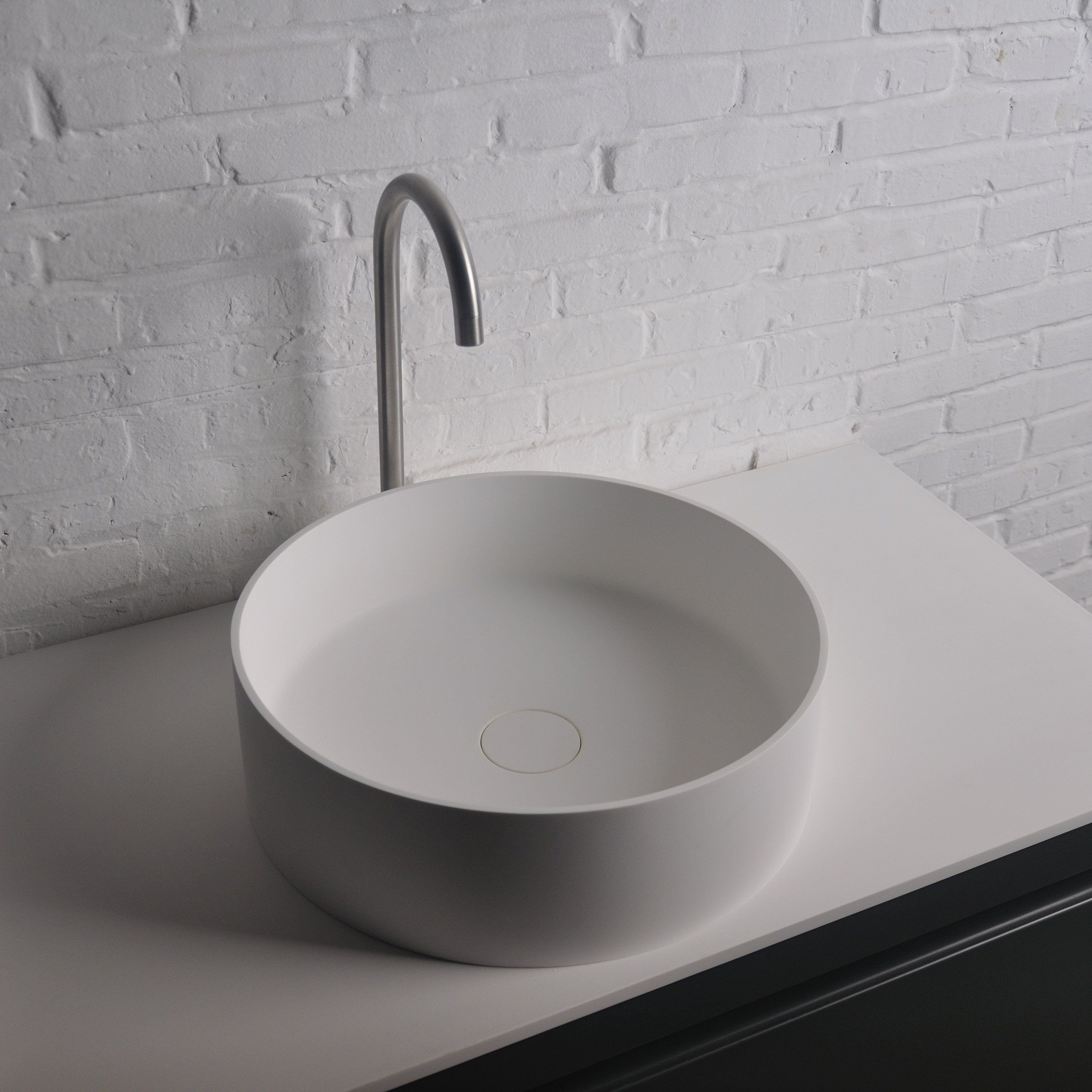Ideavit Thin Round Solid Surface Vessel Sink Bowl Above Counter Sink  Lavatory For Vanity Cabinet