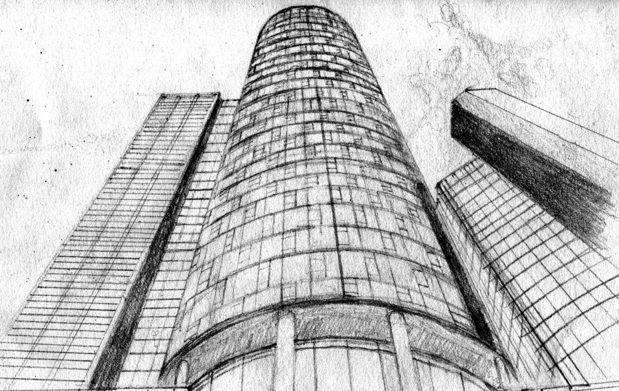Tall Buildings Sketch Skyscrapers Pencil Drawing By AMNdesignsdeviantart On