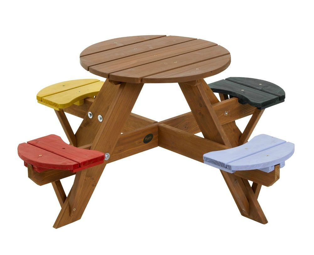 Garden childrens picnic set wooden table chairs 4 coloured seats patio round new Wooden childrens furniture