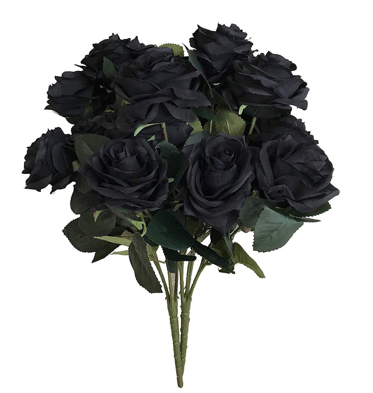 DALAMODA Black Open Roses bushDIY flower arrangement Artificial Roses Silk Flowers 2 Bundles with Total 20 Headsarrangement
