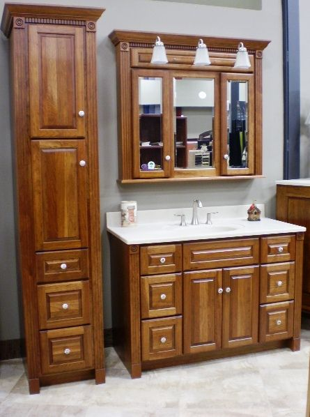 Woodpro Traditional Cherry Vanity With Linen Cabinet Medicine