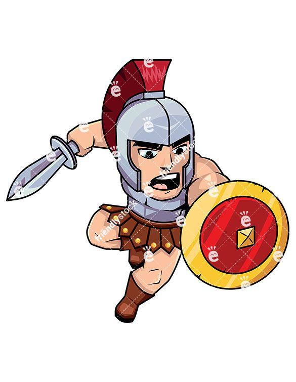 roman soldier attacking with sword cartoon vector clipart warriors rh pinterest com  cartoon roman soldier clipart