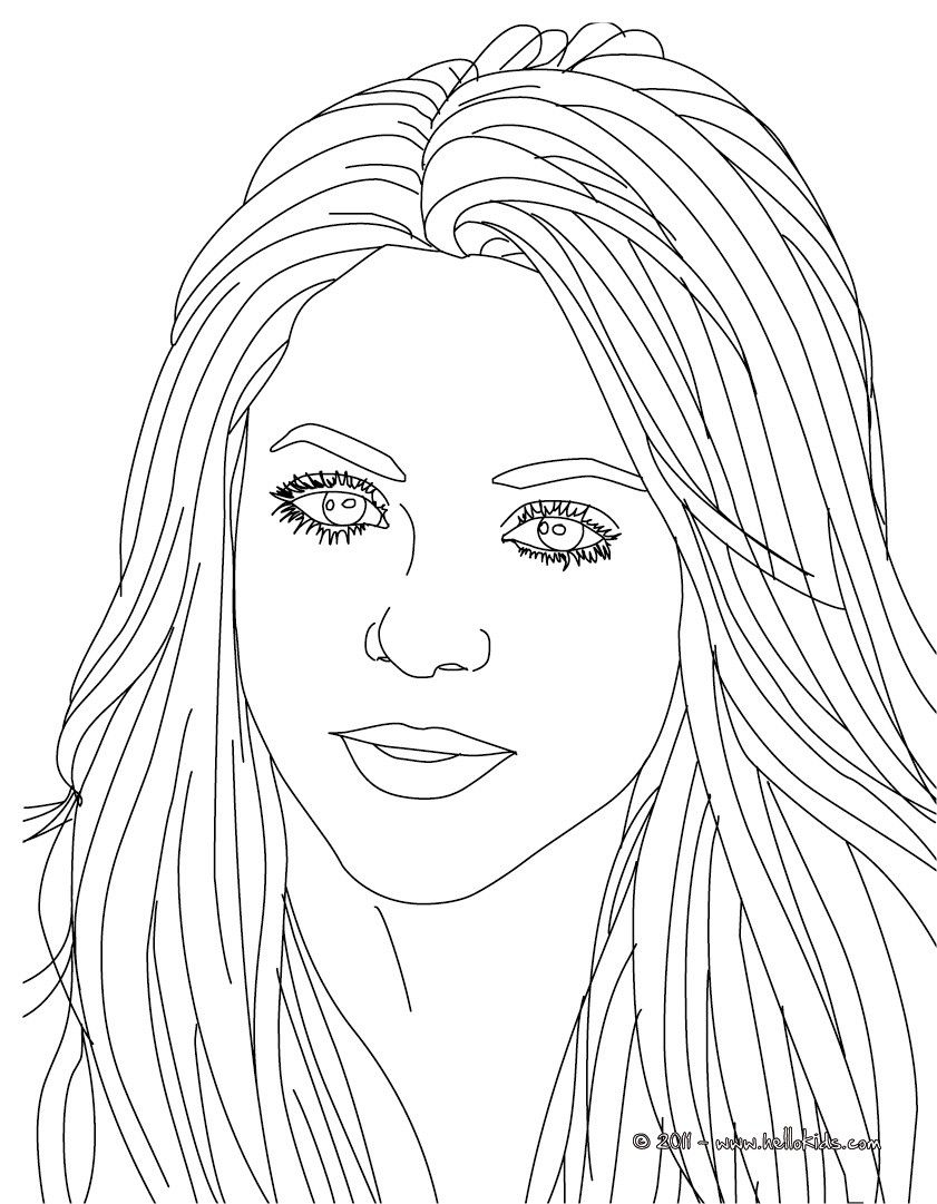 Beautiful Shakira songwriter coloring page. More famous