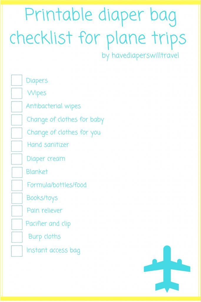 Diaper bag checklist for plane trips with a baby with a FREE