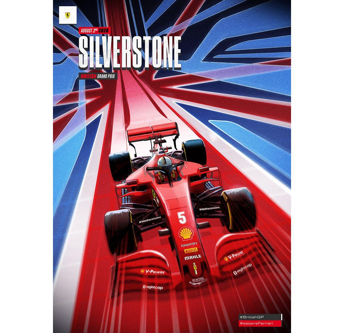 British Grand Prix 2020 By Fabrizio Des Dorides Automotive Illustration Ferrari Poster British Grand Prix