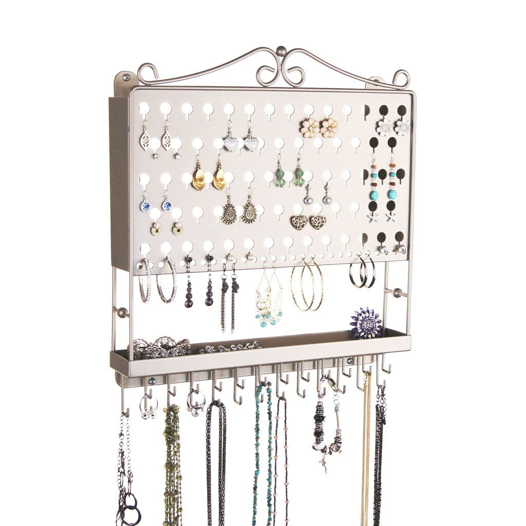 The Accessory Angel is a hanging wall mount metal jewelry organizer