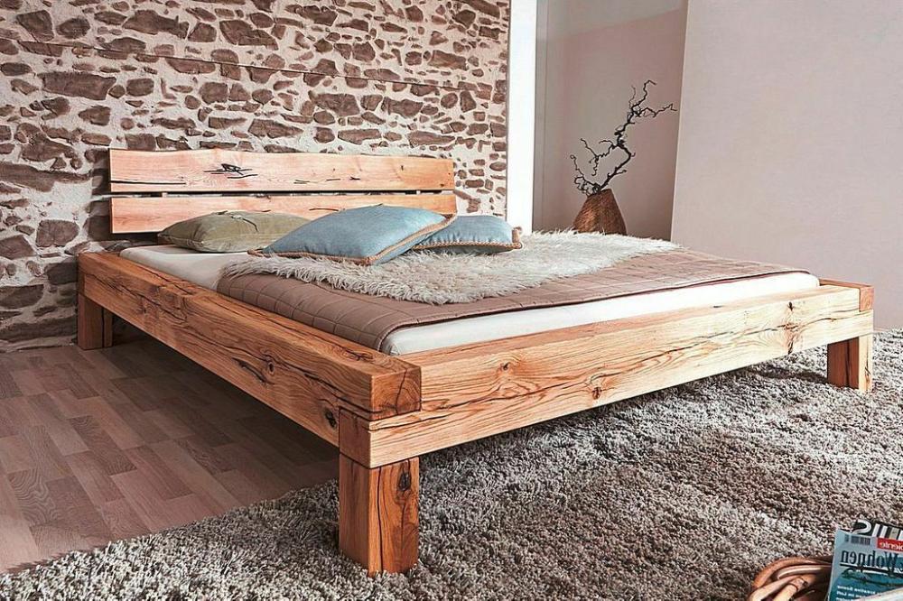 Details Zu Massivholz Bett 180x200 Wildeiche Geolt Balkenbett