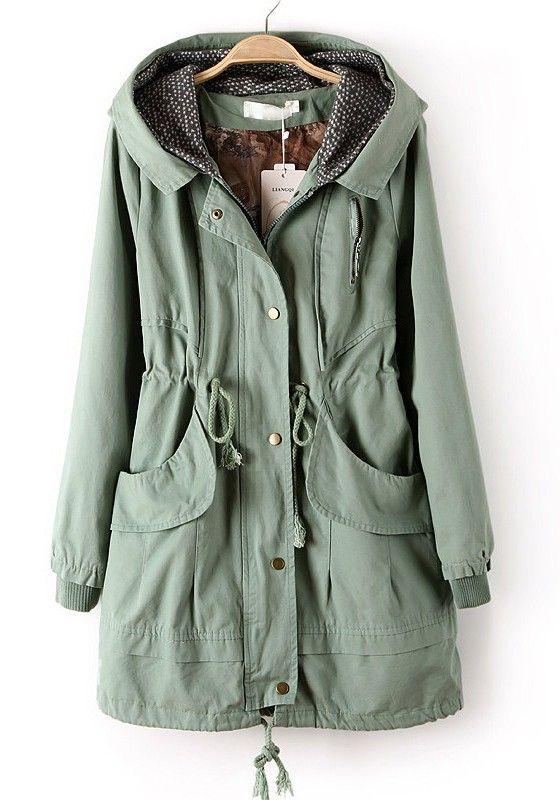 Light Green Zipper Drawstring Pockets Cotton Trench Coat | Trench ...