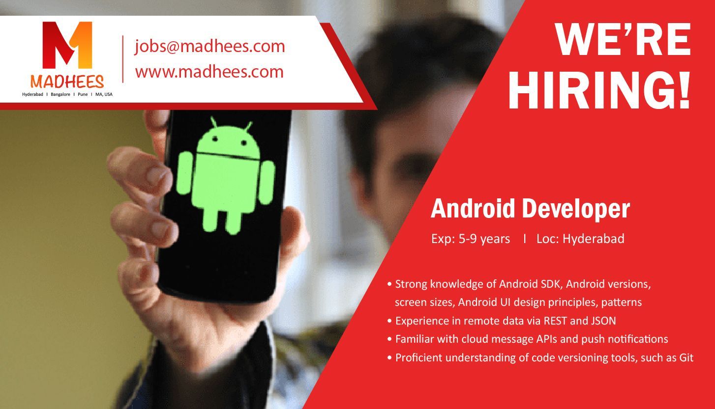 Get hired if you are an androiddeveloper with 59 yrs