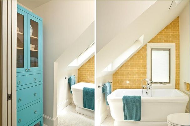 Ideen Badezimmer mit Dachschräge hell orange fliesen - schlafzimmer ideen mit dachschrge
