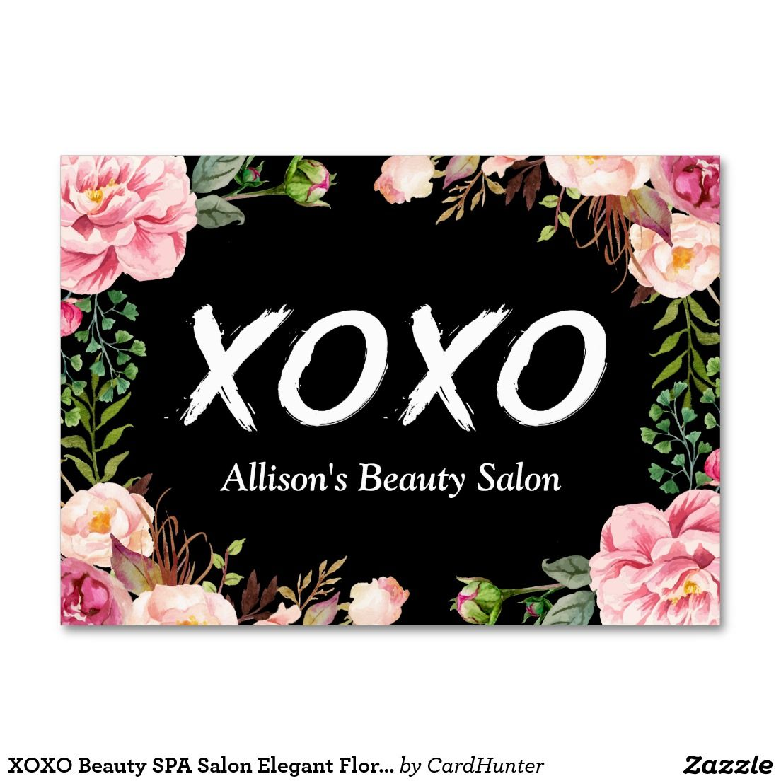 XOXO Beauty SPA Salon Elegant Floral Wrapping Large Business Card ...