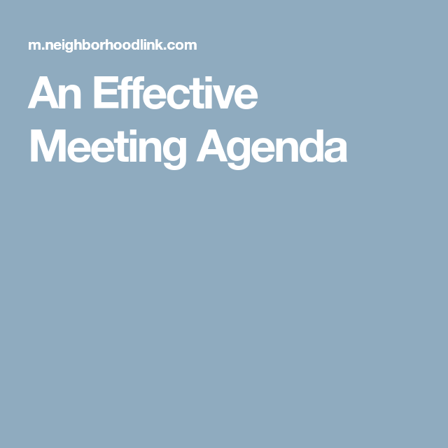 An Effective Meeting Agenda  Newsletters