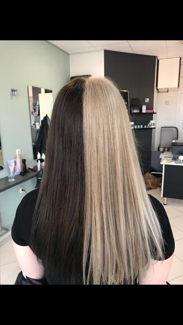 Half Brown Half Blond Half And Half Hair Color Blond Brown In 2020 Split Dyed Hair Dyed Blonde Hair Brown Hair Dye