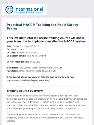 Practical HACCP Training Webinar | Lean manufacturing and Online ...