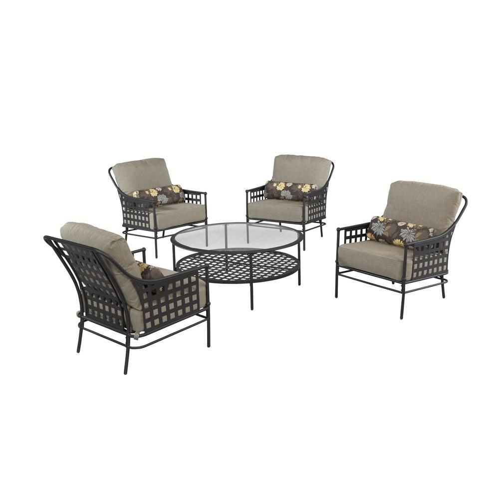 Hampton Bay Lynnfield 5 Piece Patio Conversation Set With Gray Beige Cushions Hd14500 The Home Depot