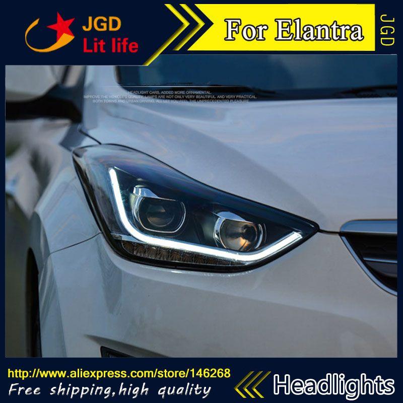 Free Shipping Car Styling Led Hid Rio Led Headlights Head Lamp Case For Hyundai Elantra Bi Xenon Lens Low Beam Elantra Hyundai Elantra Led Headlights