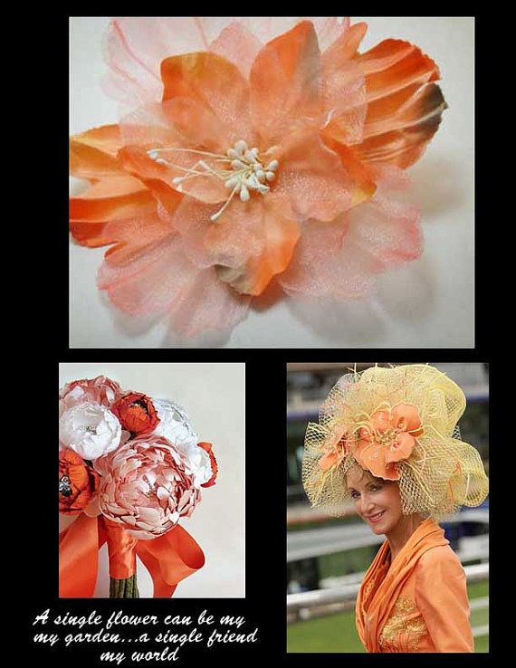 CoraL Satin Organza Flower Applique  brooch  pin by Threads2Trends, $2.75