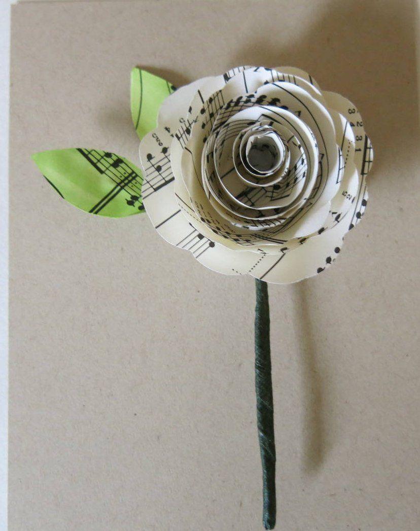 Sheet Music Boutonniere Groom Buttonhole Paper Flower Groomsman