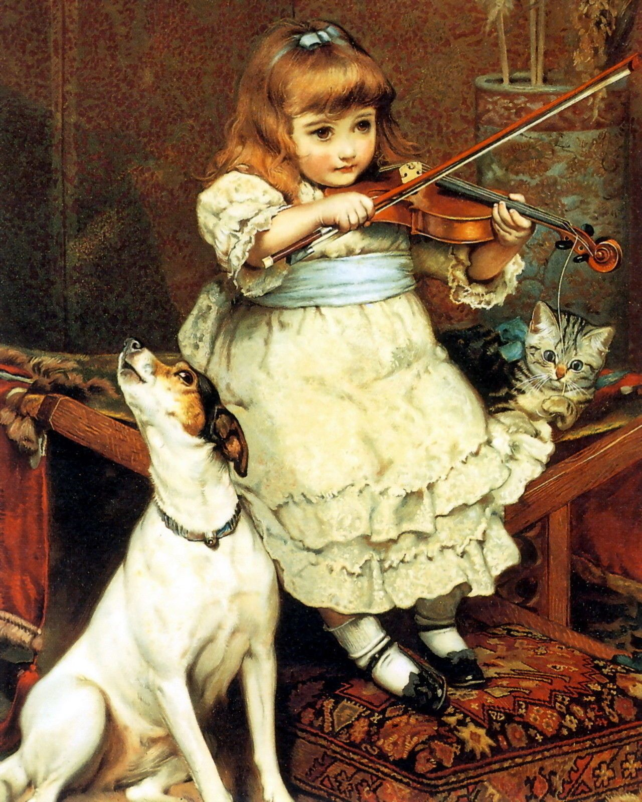 Art Print Victorian Girl On Violin Howling Dog Jack Russell Terrier Kitten Cat Ebay Dog Art Art History Animal Art
