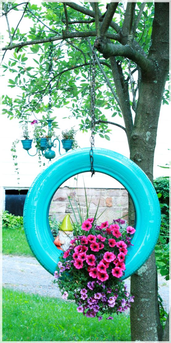 Tire Planter for that motorcycle tire thanks to Ed!