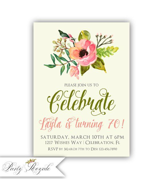 70th Birthday Invitation Ladies Floral Watercolor Turning 70 Years Old