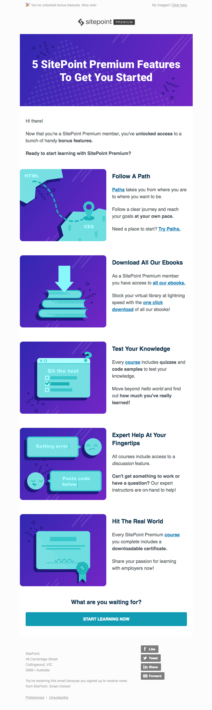 Sitepoint sent this email with the subject line: Howdy, start learning now! - Read about this email and find more welcome emails at ReallyGoodEmails.com #onboarding #welcome