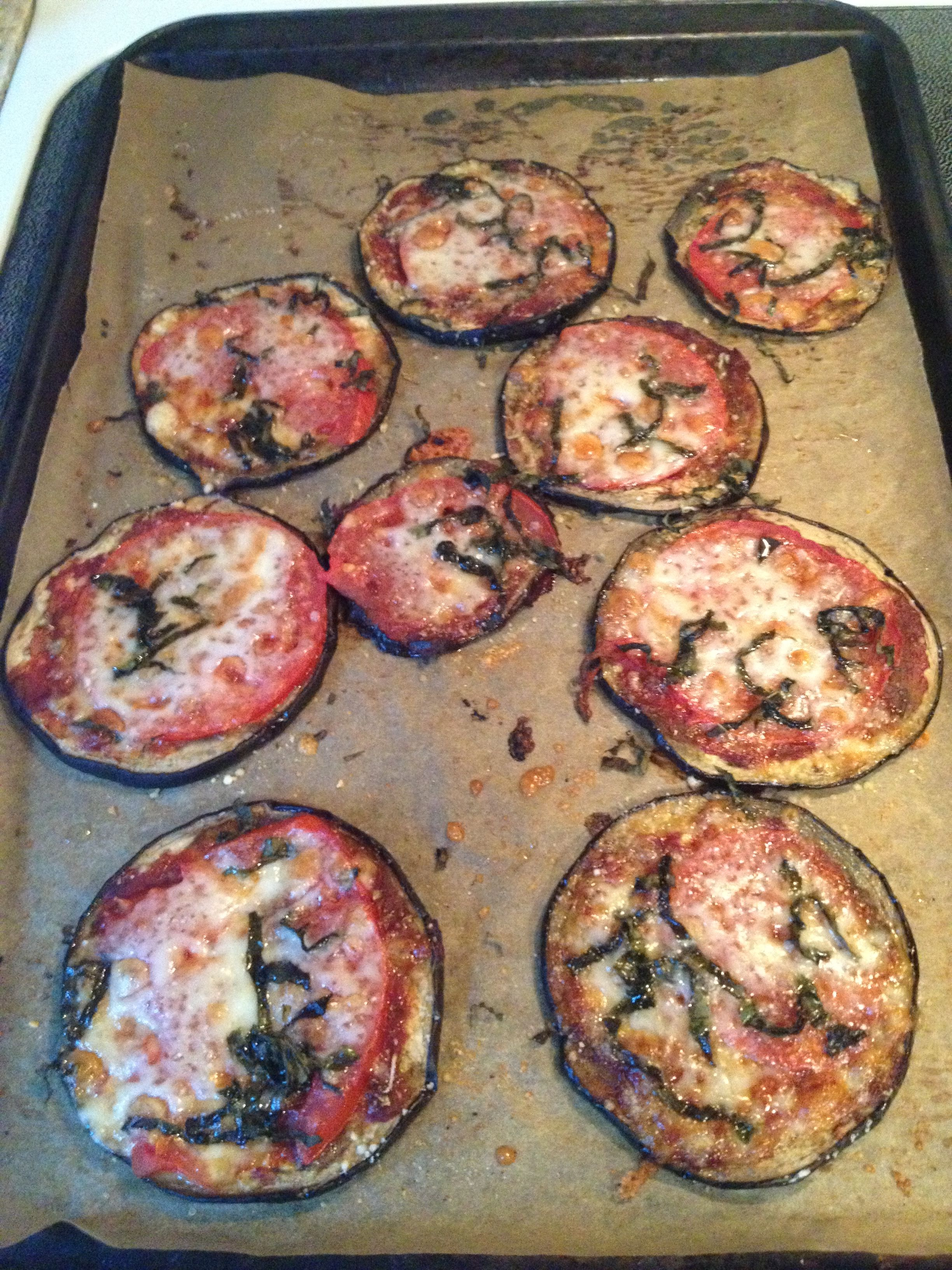 """Eggplant """"crust"""" pizzas. Tried this for dinner tonight.. I breaded with flour & spices and it fooled my picky eater, mar! So yummy."""