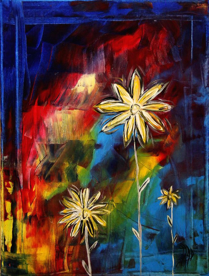 Abstract Art Original Daisy Flower Painting Visual Feast By Madart ...