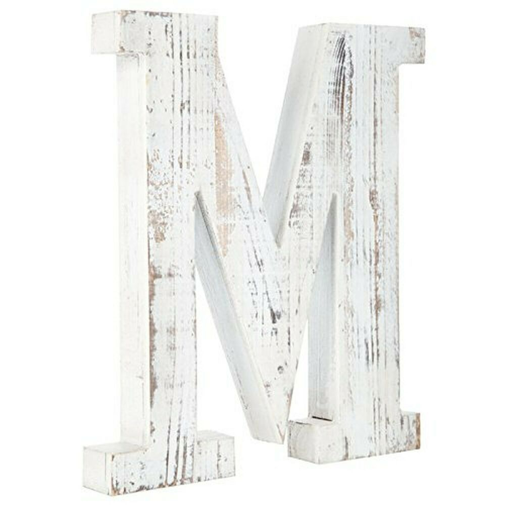 Distressed White Alphabet Wall Decor Free Standing Monogram Letter M Fashion Home Garden Homed Wood Letter Wall Decor Alphabet Wall Decor Letter Wall Decor