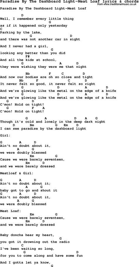 Love Song Lyrics For Paradise By The Dashboard Light Meat Loaf