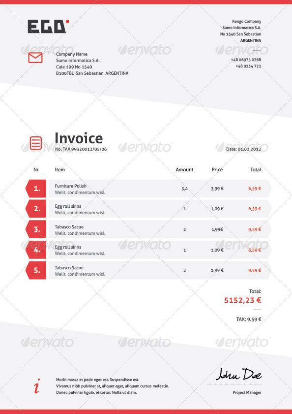 Invoice Letter Templates In OpenOffice Odt Format CV Template Added To Package GeneralDownload A Professional Eye Catching