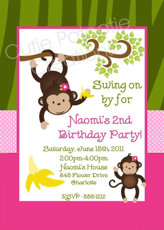 Monkey theme monkey theme ideas pinterest monkey birthday monkey birthday invitation twins or sibling monkey party invitations printable or printed filmwisefo Choice Image