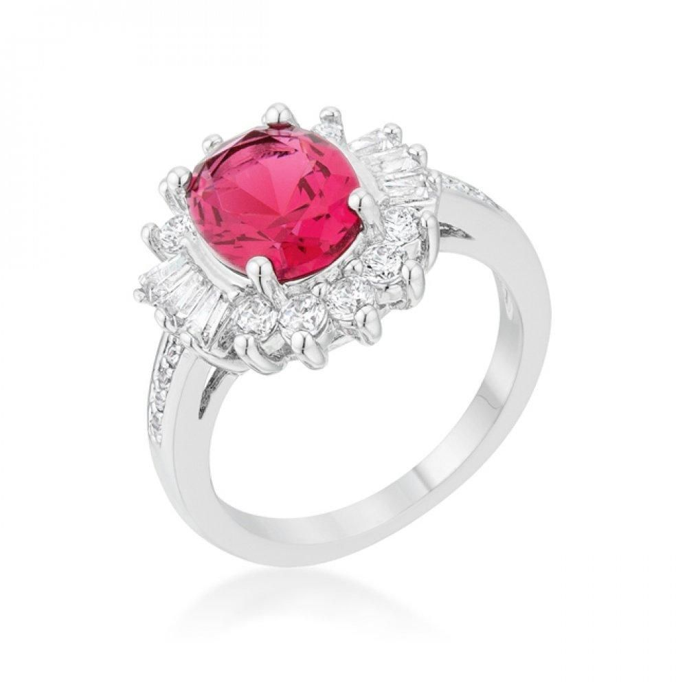 Kate Bissett Rhodium Plated Cocktail Ring with Oval Cut Ruby Red Cubic Zirconia Center Stone with Round Cut Clear CZ