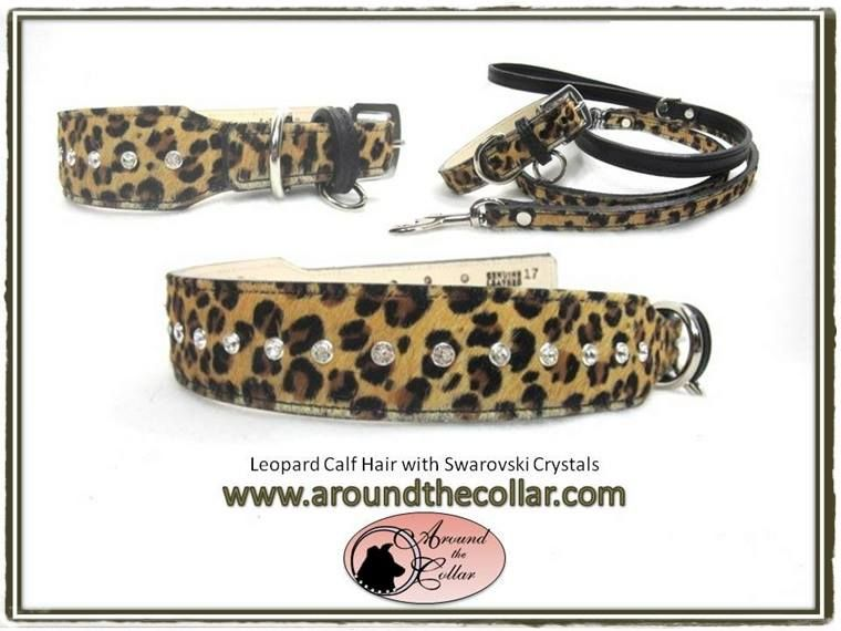 Leopard Calf Hair and Genuine Leather with or without the Swarovski crystals is a win-win for any type of dog or cat   www.aroundthecollar.com