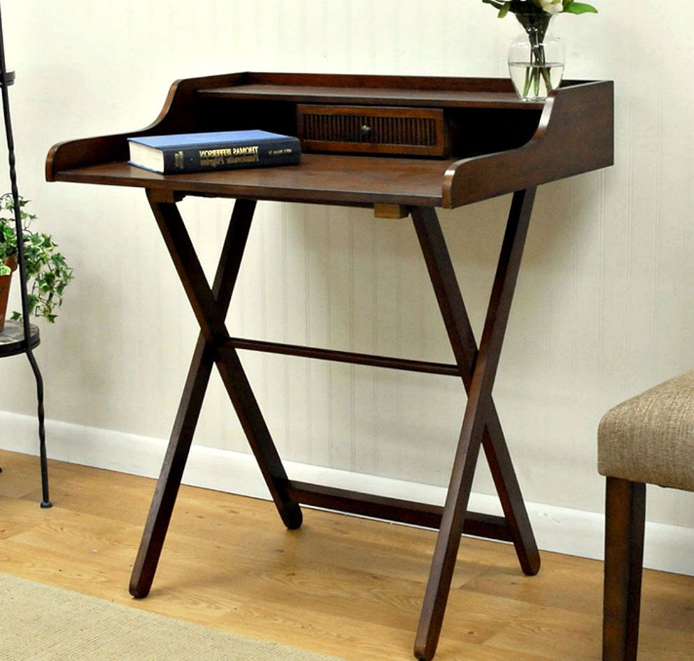Folding Writing Desk Storage Portable Laptop Student Home Office