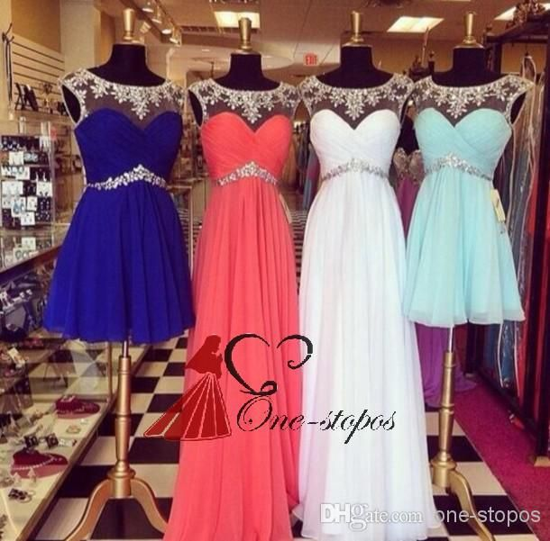 Discount 2014 Sexy Cheap Summer Beach Bridesmaid Dresses Crew Neck Chiffon Cap Sleeve Pleats Crystal Beads Short Empire Waist Prom Gown Under $100 Online with $98.96/Piece | DHgate